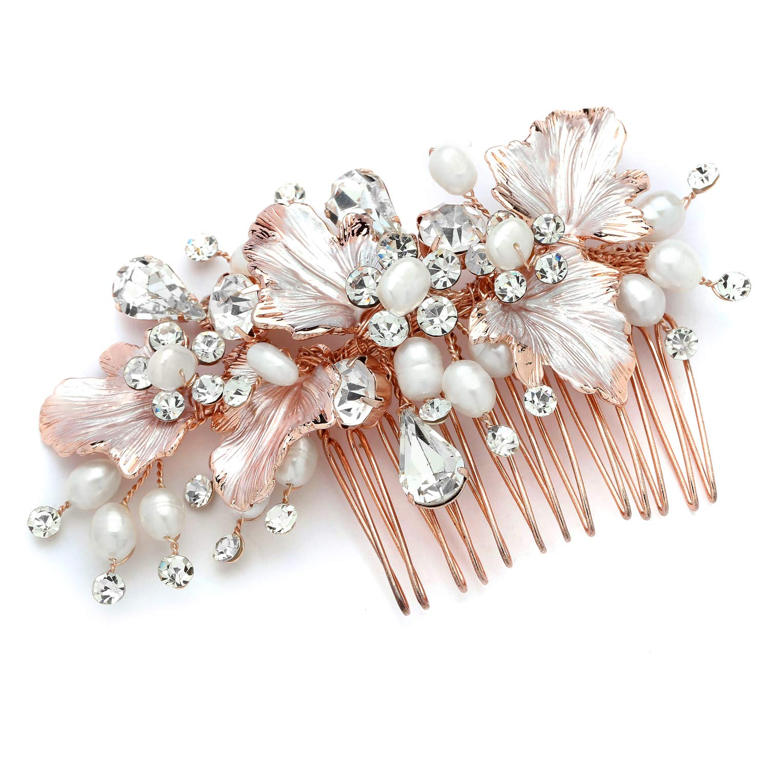Mariell Couture Rose Gold Bridal Hair Comb Headpiece - Hand Painted Leaves, Freshwater Pearls & Crystals