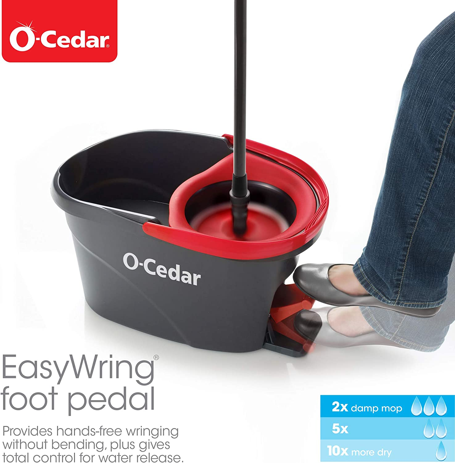 O-Cedar Easywring Microfiber Spin Mop & Bucket Floor Cleaning System with 3 Extra Refills: Home & Kitchen