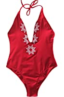 Cupshe Fashion Women's Vintage Rose Embroidered One-piece Swimsuit Beach Swimwear