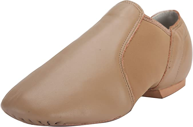 Linodes Leather Jazz Shoe Slip On for Girls and Boys (Toddler/Little Kid/Big Kid) Brown 13M Little Kid