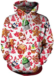 FDFSDAMAI 3D Printed Hoodie,Unisex Cartoon Food Merry Christmas Novelty Printed Sweatshirt Men Women Hooded Pullover Autumn Winter Loose Leisure Adult Couple Hoodie Festival Party Clothing