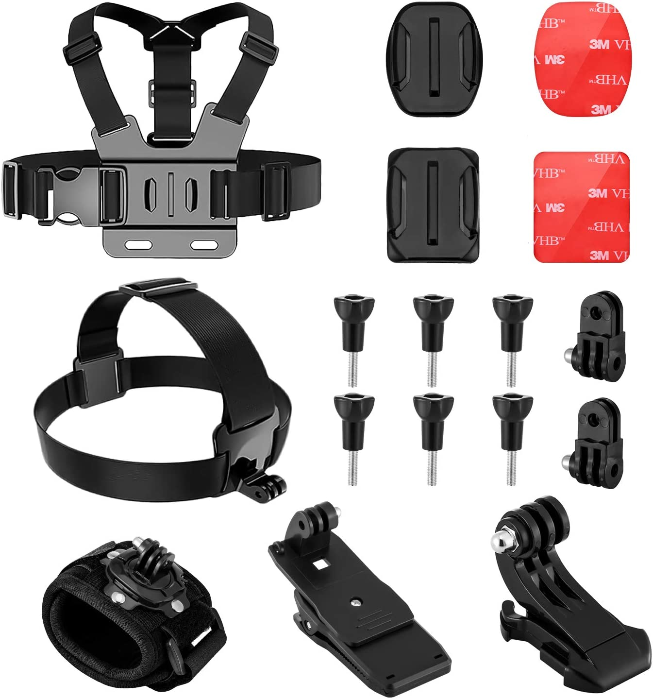 BOYISEN Action Camera Accessories kit for Gopro, Xiaomi Yi AKAS Apeman Sport Camera with Head Strap Body Wrist Strap Backpack Clip Mount and Helmet Mount