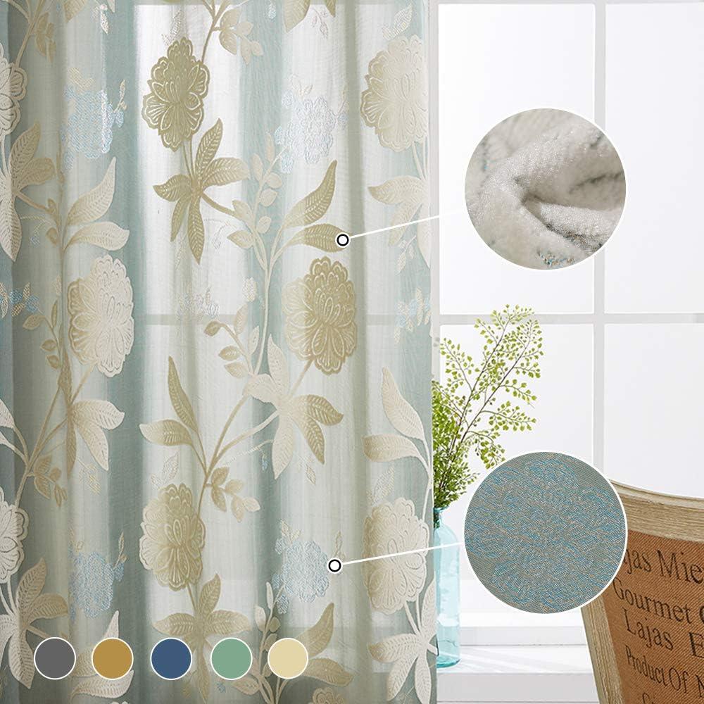 VOGOL 2 Panels Rod Pocket Sheer Curtains Flower Embroidered Elegant Window Drapes for Living Room Bedroom,52x96,Beige
