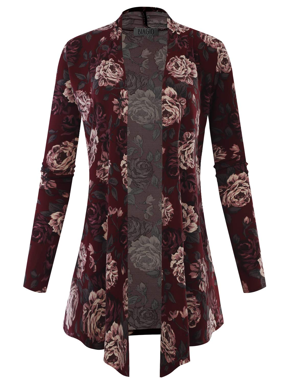BIADANI Women's Open Front Lightweight Cardigan Floral Print 601039 Burgundy Medium