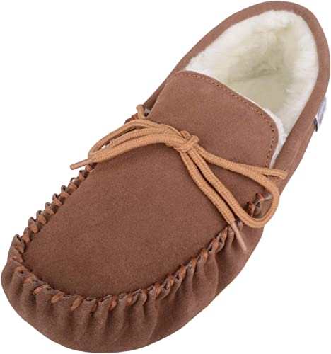 Ladies Tan Suede Moccasin Slippers with