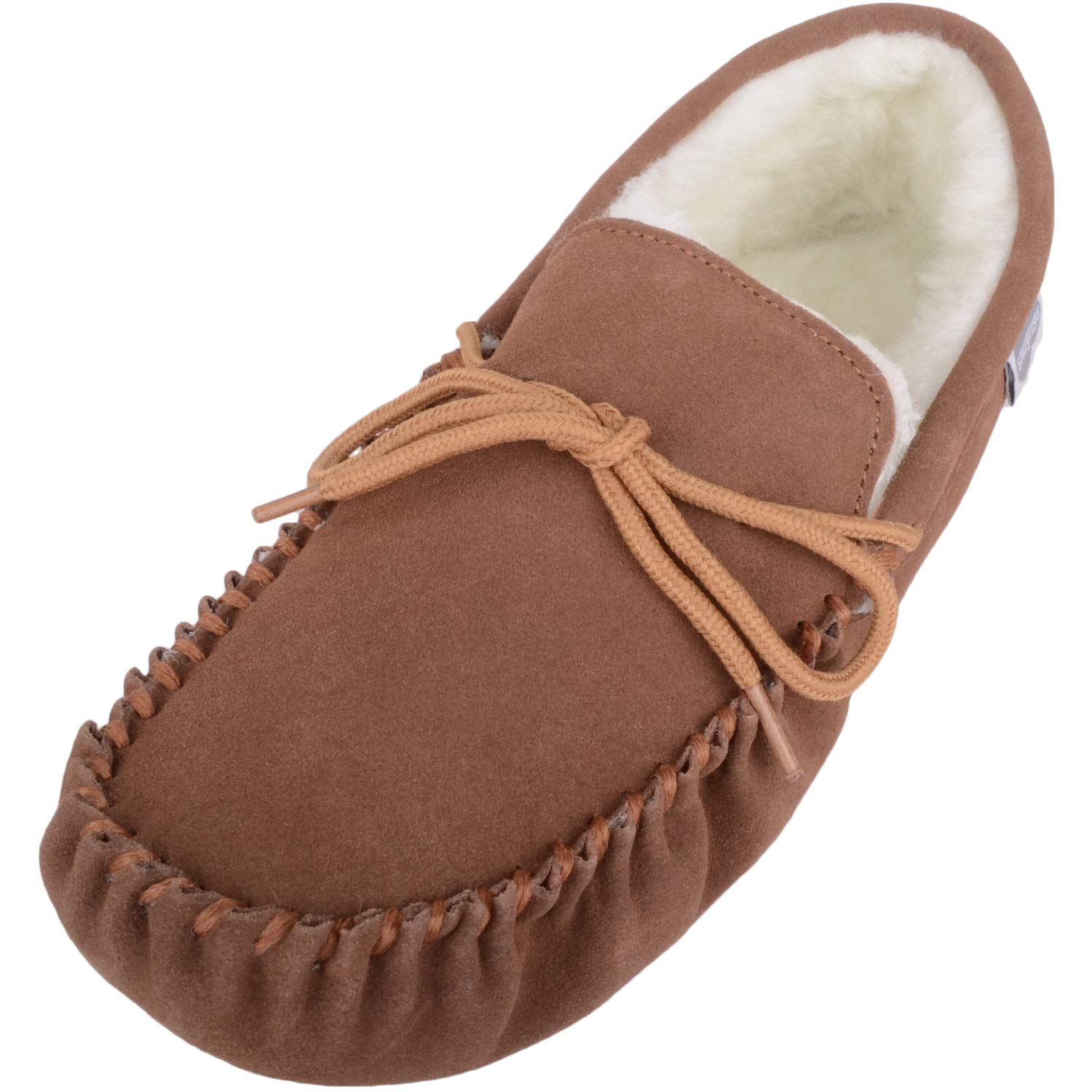 SNUGRUGS Men's Suede Sheepskin Moccasin Slippers with Soft Sole Light Brown US 10