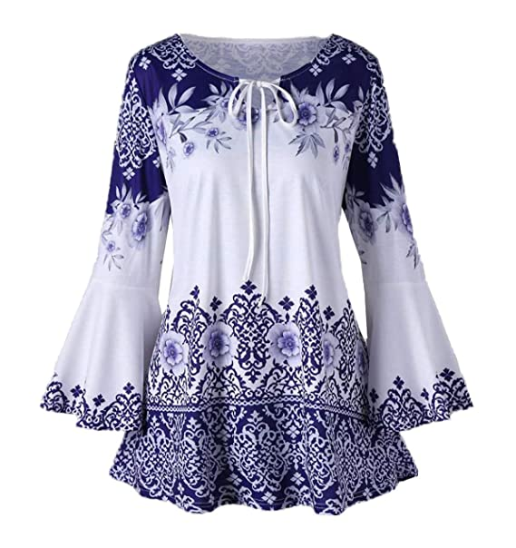 Primavera Otoño Mujeres Tops Casual Cuello Redondo Vendaje Cuerno Manga Camisas Blusa Moda Hermoso Impresión tee