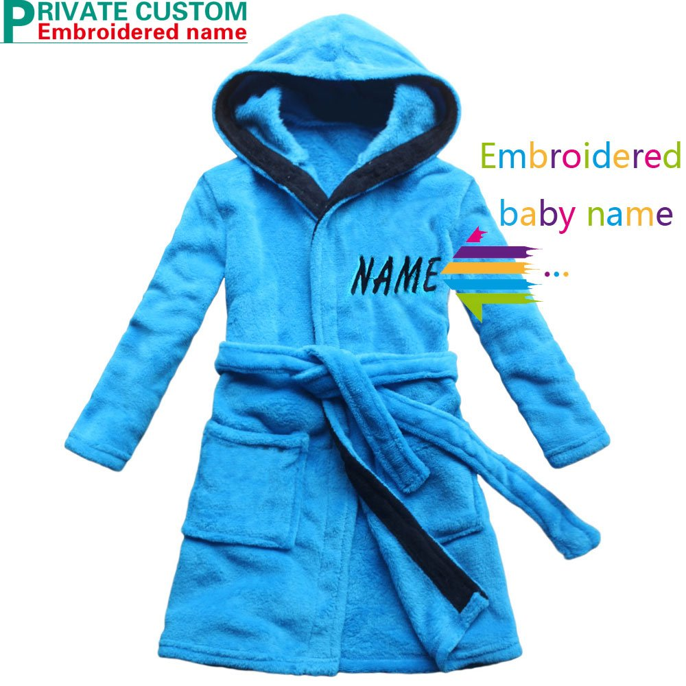 Nom brod/é Robe de bain pour enfants bleu velours de corail Chemise de nuit gar/çon chaud