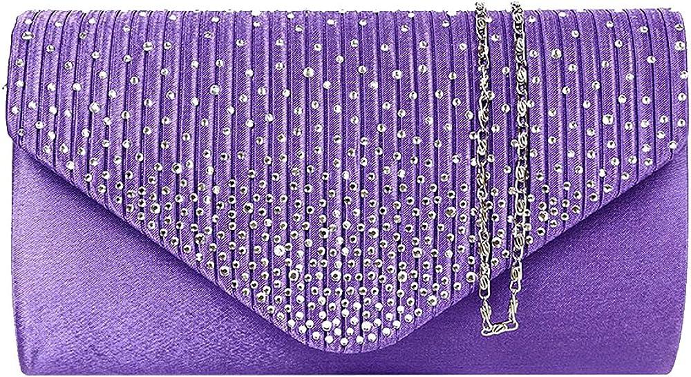 Diamonte Envelope Clutch Shoulder Bag Purse Womens Fashion 11 Colours