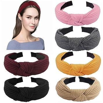 Women Headband Solid Color Wide Turban Twist Hairband Girls Elastic Hair Bands