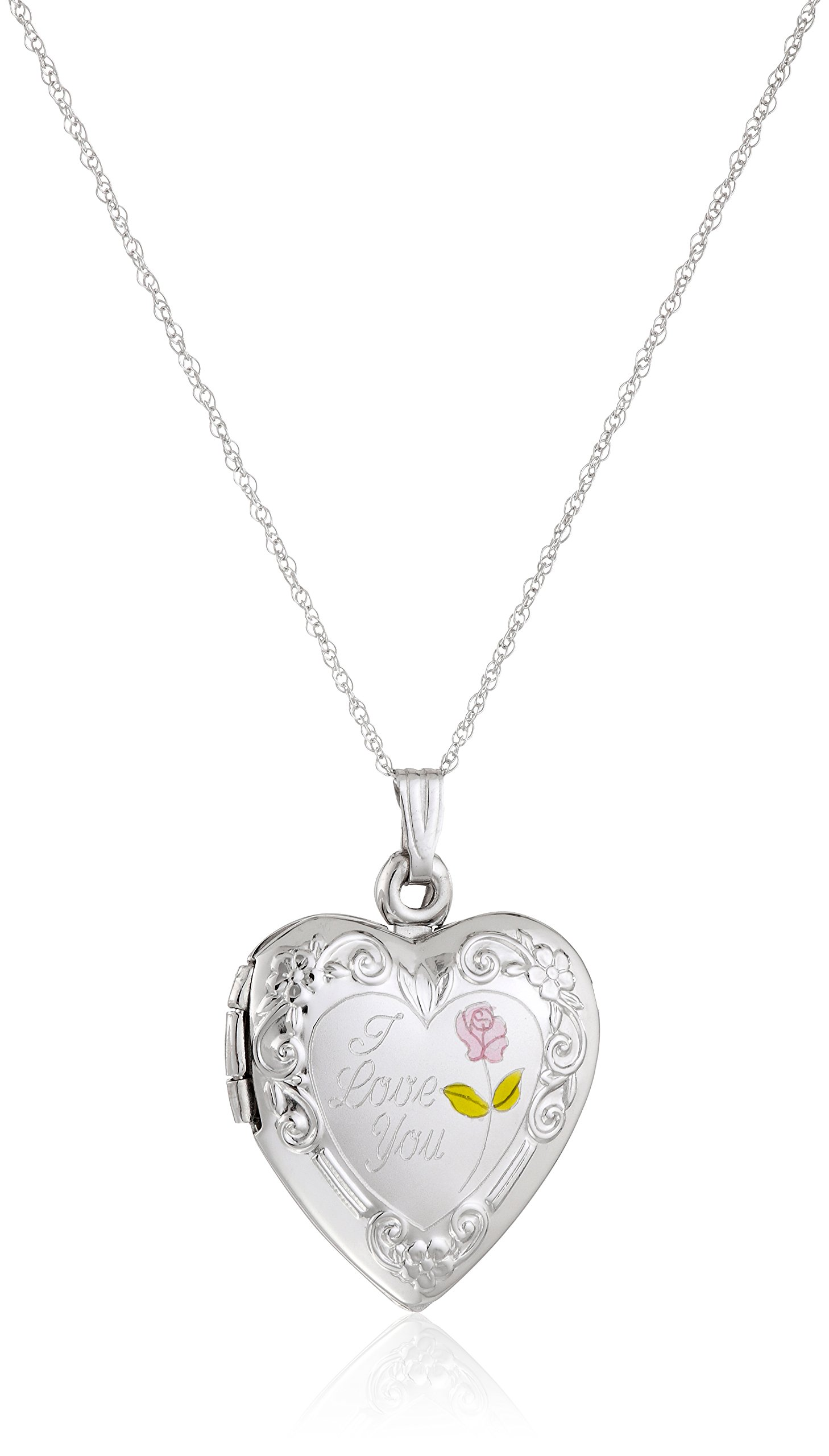 14k White Gold ''I Love You'' Heart Locket Necklace, 18''