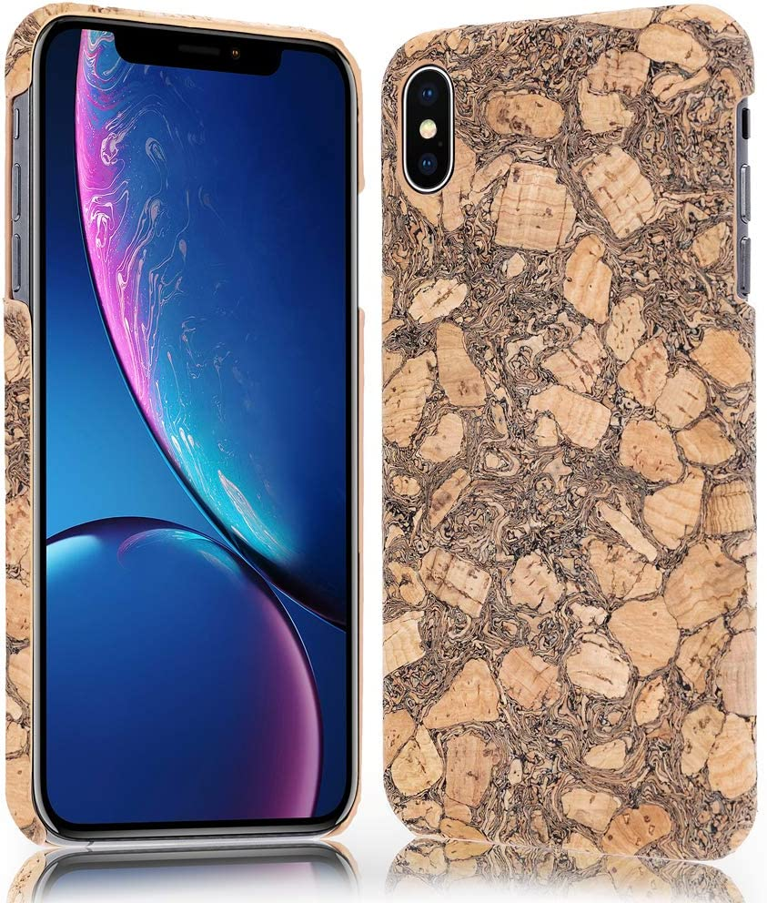 NALIA Cork Case Compatible with iPhone Xs Max, Ultra-Thin Wood Look Back-Cover Protector Natural Design, Slim Protective Hardcase Skin Shock-Proof Bumper, Smart-Phone Etui, Designs:Cork Pattern