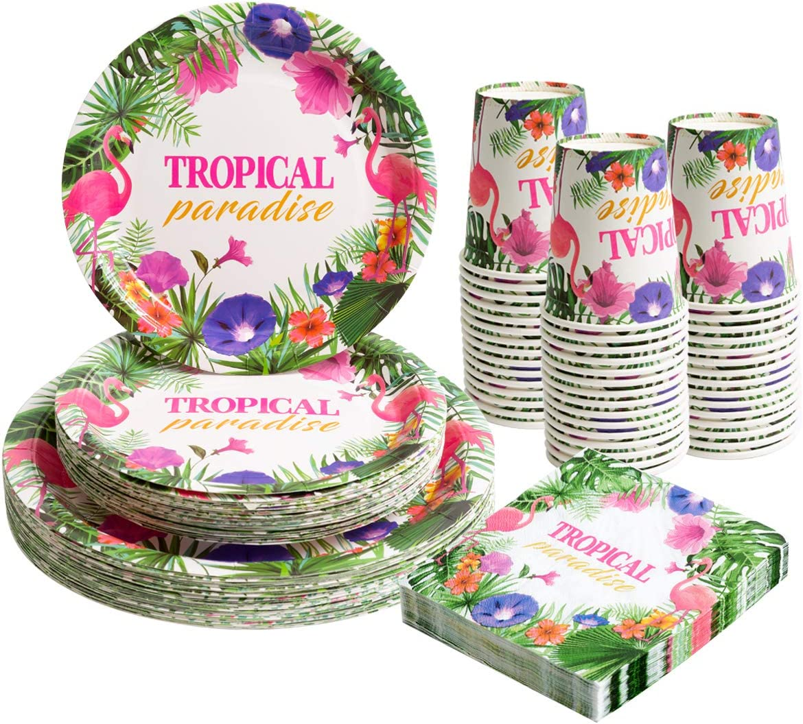 Hawaiian Luau Party Paper Plates Napkins and Cups Sets Serves 30, Flamingo Disposable Tropical Party Decorations for Hawaiian Themed Tropical Luau Beach Party