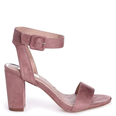 07513f5f12 Linzi Millie - Dusky Pink Suede Open Toe Block Heel With Ankle Strap and  Buckle Detail: Amazon.co.uk: Shoes & Bags