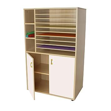 Mobeduc Armario y Muebles de Almacenamiento de Papel con 2 inconveniente Caja, Madera, Color Blanco, 90 x 147 x 53 cm: Amazon.es: Hogar