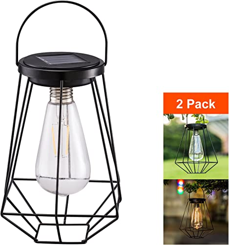 Outdoor Solar Lanterns Lamps – 2 Pack Tabletop Filament LED Edison Bulbs Hanging Solar Powered Garden Decorative Table Lights for Patio Backyard Courtyard Lawn Landscape D cor ST64 Filament Bulb
