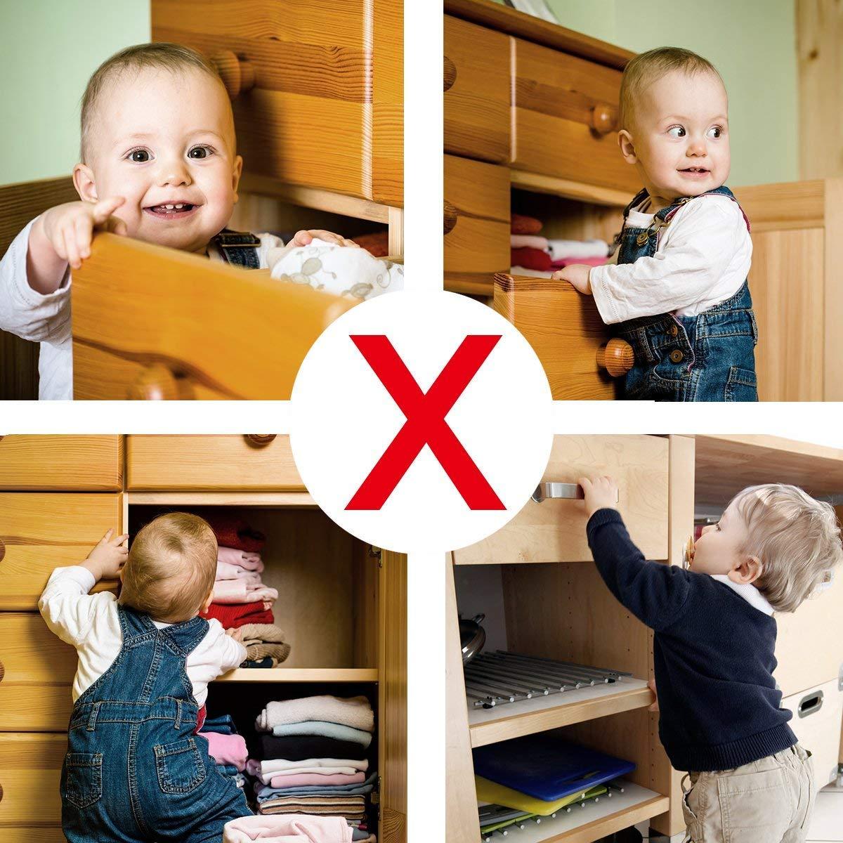 10 Locks+2 Keys 16 Locks /& 3 Keys Baby Safety Magnetic Cabinet Lock Set HURRISE Child Safety Locks Kids Toddler Proofing Hidden Cupboard Drawer Locking System No Drilling /& Screws