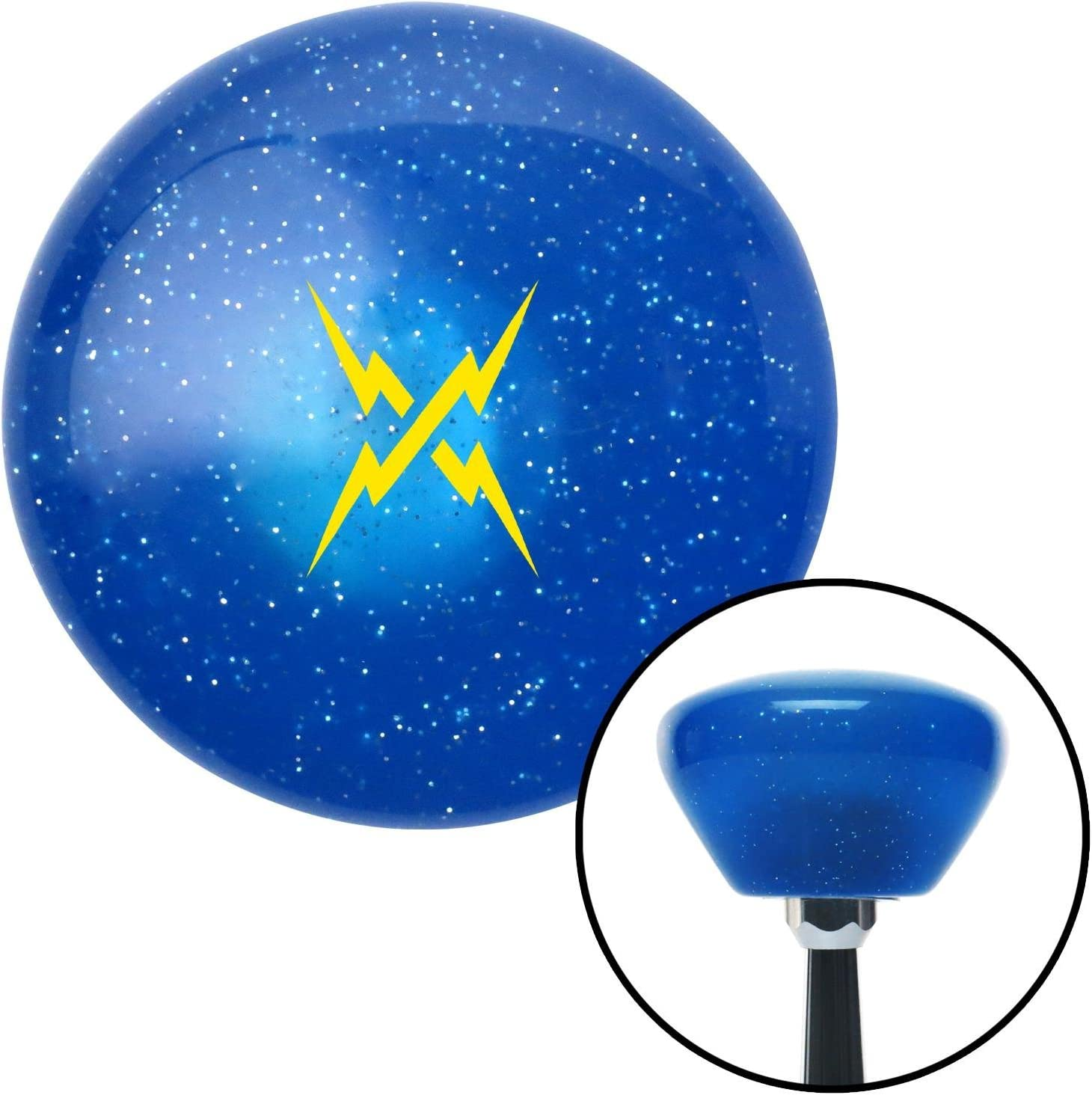 American Shifter 289792 Shift Knob Yellow Lightning Crossed Blue Retro Metal Flake with M16 x 1.5 Insert