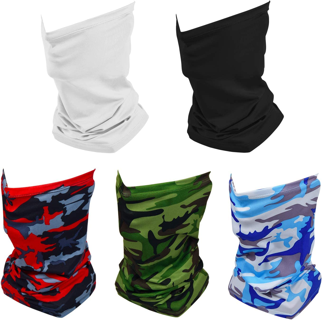 Retail Sign Systems 5 Pack Summer Neck Bandana UV Sun Protection, Unisex Elastic Neck Gaiter Face Shield Mask Breathable Cooling Face Scarf Cover for Fishing Hunting