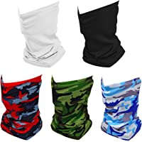 $21 » ZiegLad 5 Pack Summer Neck Bandana UV Sun Protection, Unisex Elastic Neck Gaiter Face Shield…