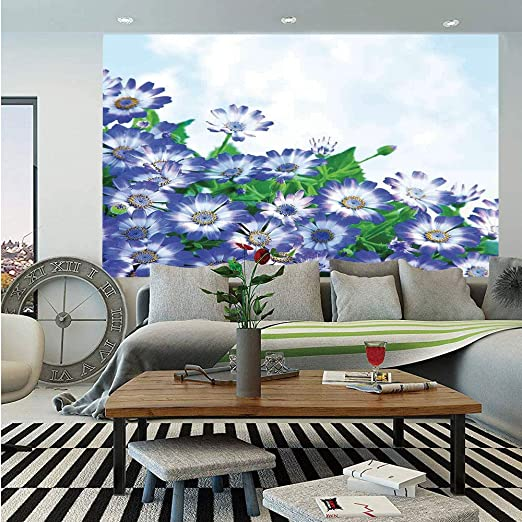3D White Daisy Green Grass Landscape Self adhesive Wallpaper Gilrs Bedroom Mural