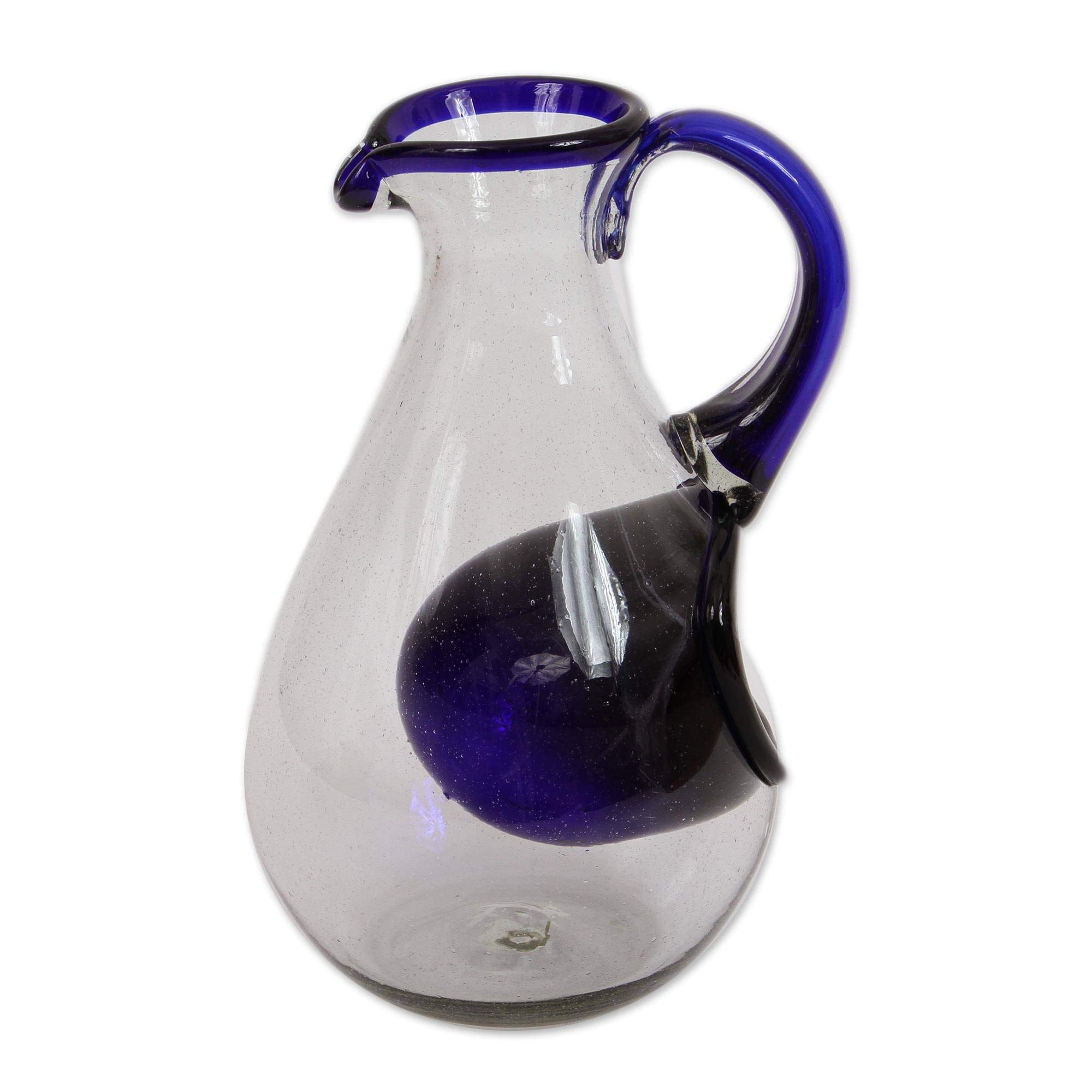 NOVICA Blue Eco-Friendly Hand Blown Glass Pitcher with Ice Chamber, 60 oz, Fresh Ocean' by NOVICA