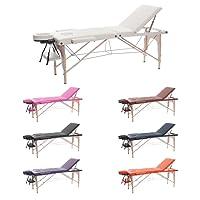 H-ROOT 3 Section Table de Massage Grande Canapé Lit Plinthe de Thérapie Salon Tatouage Reiki Massage Suédois Thérapeutique (195cm x 70cm x 62-83cm, Crème)