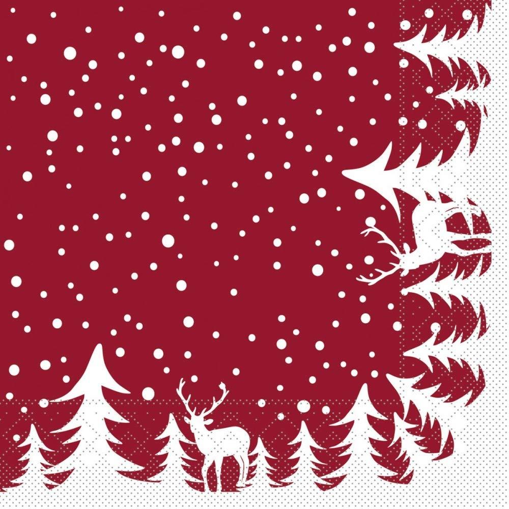 Sovie HORECA Serviette Marvin in Bordeaux 100 St/ück Weihnachten Tannenbaum Xmas aus Tissue 33 x 33 cm