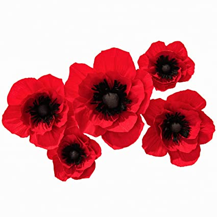 Amazon handcrafted flowerslarge crepe paper flowers red set handcrafted flowerslarge crepe paper flowers red set of 5handcrafted flowers mightylinksfo