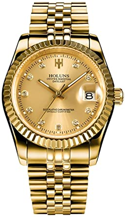Gosasa Men Full Gold Teel Watch Men Automatic Mechanical Self Wind Watch Designer Dress Men Wristwatches