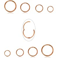 Jstyle 8Pcs 16G Surgical Steel Hinged Clicker Segment Nose Rings Hoop Helix Cartilage Daith Tragus Sleeper Earrings Body…