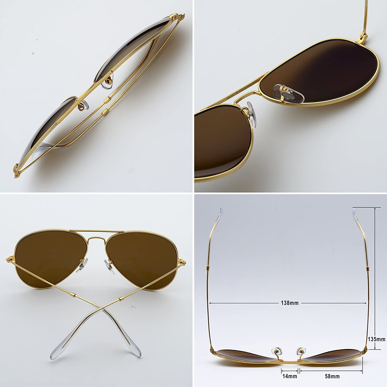 6e5db522e76 Amazon.com  BNUS Corning natural glass New Pilot Sunglasses Italy made with  Polarized Choices (Frame  Matte Gold Lens  Blue rainbow