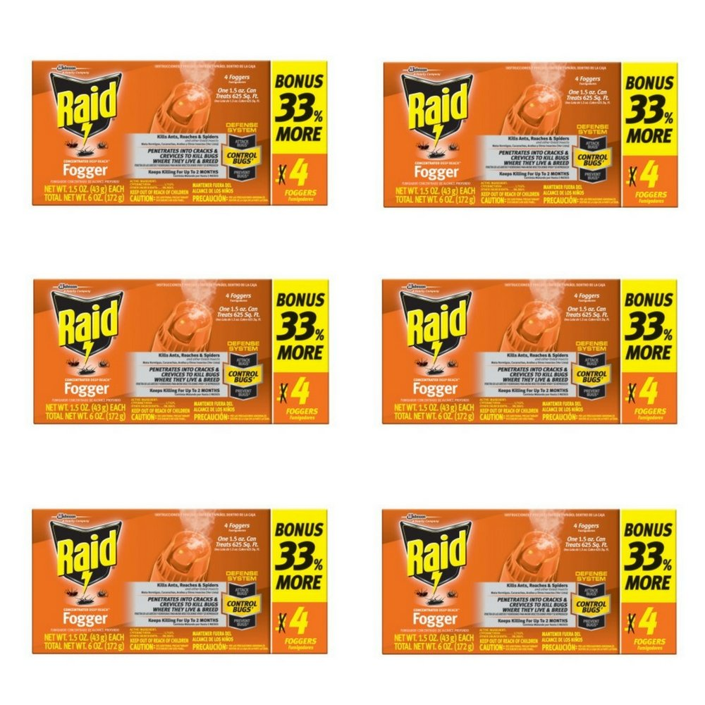 Raid Concentrated Pest Control Deep Reach Fogger 1.5 Ounces 4 count (6 pack) by Raid