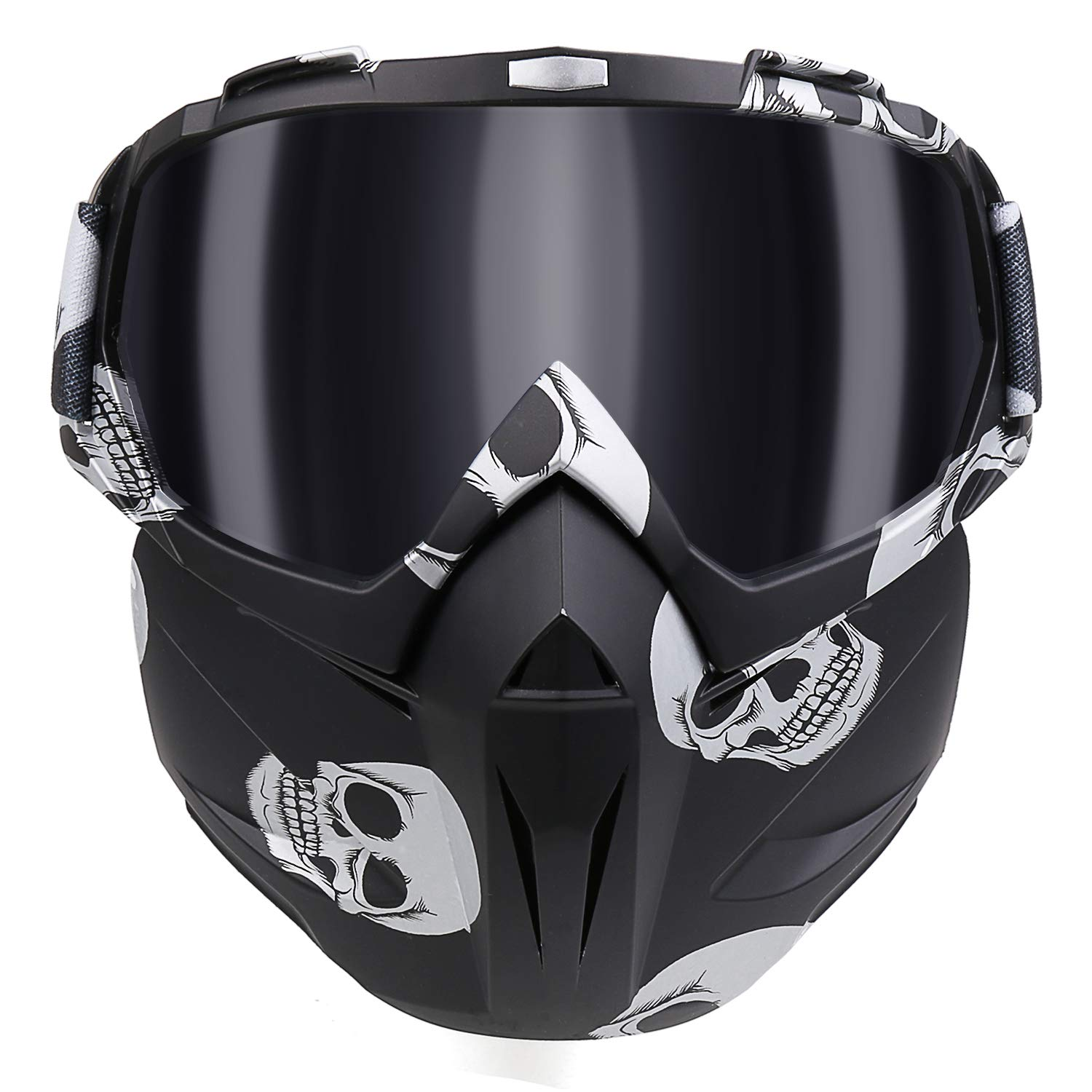 KKmoon Mortorcycle Mask Detachable Goggles and Mouth Filter for Open Face Helmet Motocross Ski Snowboard