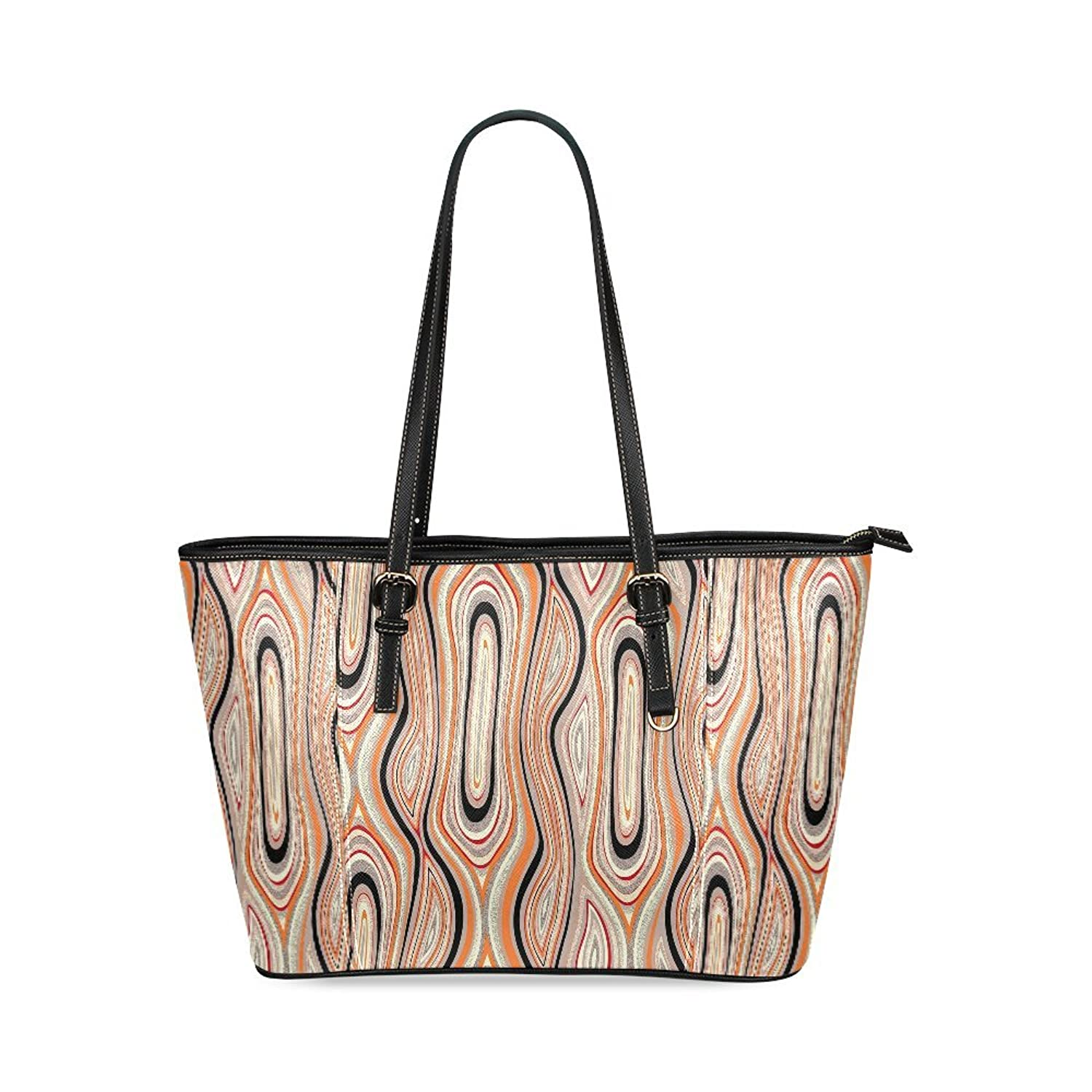 Abstract Swirl Geometric Custom PU Leather Large Tote Bag/Handbag/Shoulder Bag for Fashion Women /Girls