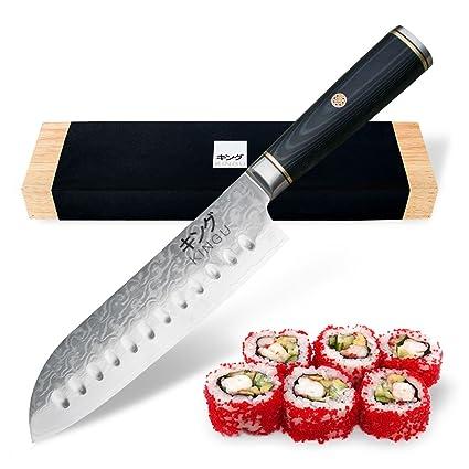 Amazon Com Kingu Cutlery Black Series Chef Knife 7 Inch Santoku