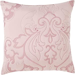 """BrylaneHome Amelia 16"""" Square Pillow, Pale Rose"""