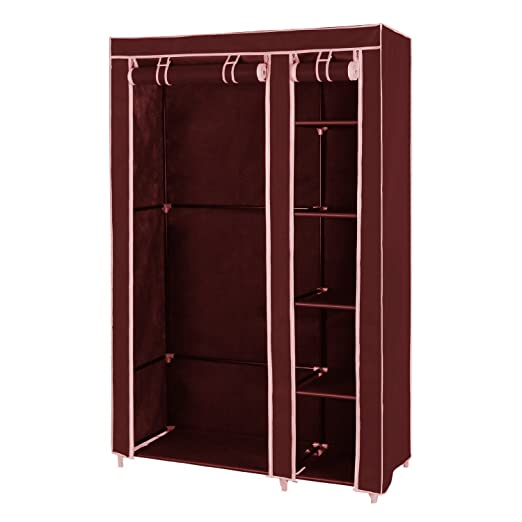 House Of Quirk Fancy Multipurpose Clothes Closet Portable Wardrobe Storage  Organizer With Shelves, Brown (Need To Be Assembled): Amazon.in: Home U0026  Kitchen