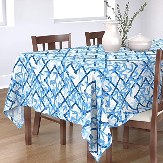 Amazon Com Roostery Tablecloth Bamboo Blue White Asian Trellis