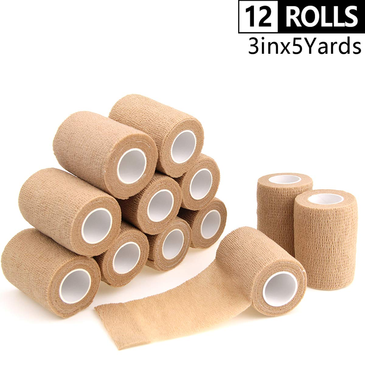 AUPCON Vet Wrap Self Adherent Wrap Cohesive Bandage Tape Animal Bandage Self Adhesive Bandages for Horse, Pets & Ankle Sprains & Swelling 3 Inches Beige 12 Rolls