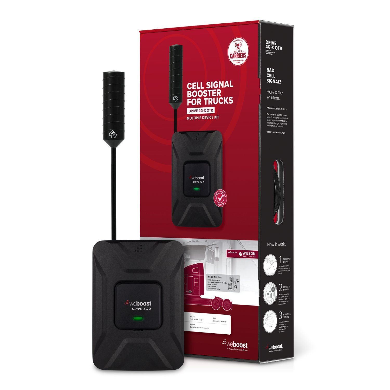 weBoost Drive 4G-X OTR (470210) Cell Phone Signal Booster Trucker Kit - Verizon, AT&T, T-Mobile, Sprint - Enhance Your Cell Phone Signal up to 32x by weBoost