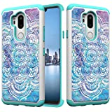 LG G7 Case, LG G7 ThinQ Case, Tznzxm Fashion 2 in 1 Dual Layer Easy Grip Anti-Scratch Hard PC Silicone Bumper Shock Absorption Bling Diamond Sparkly Defender Protective Case for LG G7 2018 Mandala