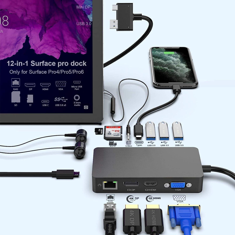 Surface Pro Dock para Surface Pro 4 / Pro 5 / Pro 6 USB Hub Docking Station con puerto Gigabit Ethernet,4K HDMI VGA DP Display Port, 3xUSB 3.0 Ports, Audio Out Port, USB C Port, SD / TF Card Reader