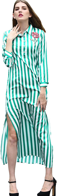 2017 Spring Summer Fashion Print Striped Green Turn-Down Collar Embroidery Flower Split Women Long Shirt Dress