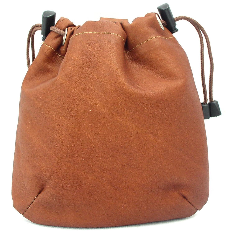 Women's Genuine Saddle Brown Piel Leather Drawstring Pouch Bag