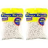 Darice 06121-2-02 1000 Count Pony Beads, 9mm, Opaque White (2 packs)