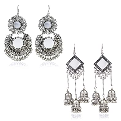 3c0a8d5e0 Buy Yellow Chimes Oxidized Silver Combo 2 Pairs Stylish Chandbali Jhumki Traditional  Earrings for Women & Girls Online at Low Prices in India | Amazon ...