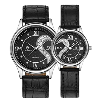 2dbc647d4e Romantic His and Hers Watches,Pair Hearts Wristwatches for Couples Man  Woman,Black Ultrathin