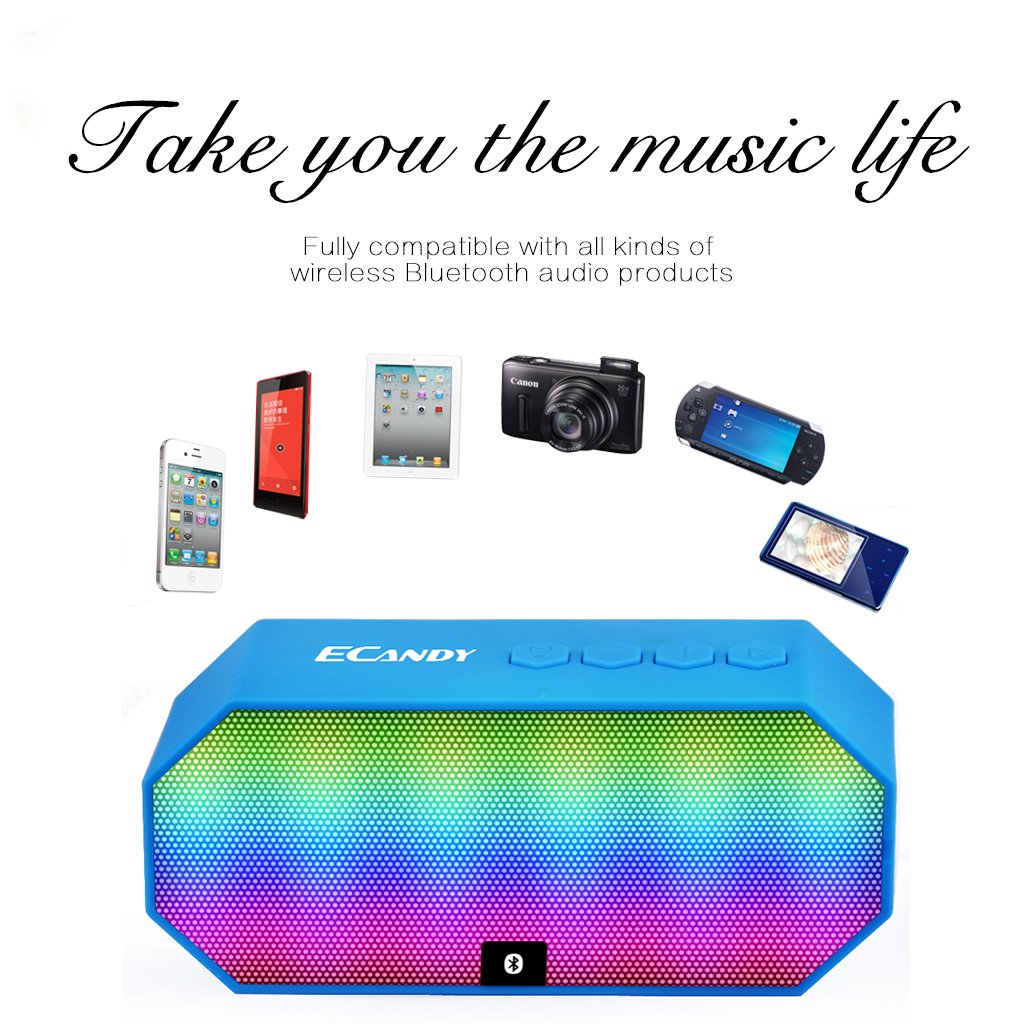 Bluetooth Speakers,Ecandy Portable Wireless Stereo Speaker with LED Lights, Build-in Microphone Support Hands-free Calling for iPhone 6s,6s Plus,5s,Samsung Galaxy S6 Edge,HTC M9,Tablets and More,Blue