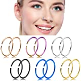 Nose Hoop Ring,18-20G 12PCS Stainless Steel Body Jewelry Piercing Nose Ring Hoop,Tragus hoop Earring.